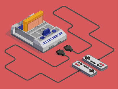 Dendy design minimal sega joystick game mario dendy web isometria iso video console flat illustration vector