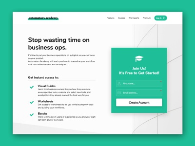 Automators Academy kartra branding ui ux web website design web design website business education landing page membership