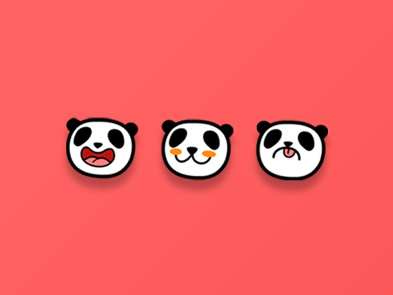 Panda Mood Icons design logo ui cute illustration vector