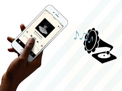 Music App UI Design illustration ios branding logo web flat ui design app