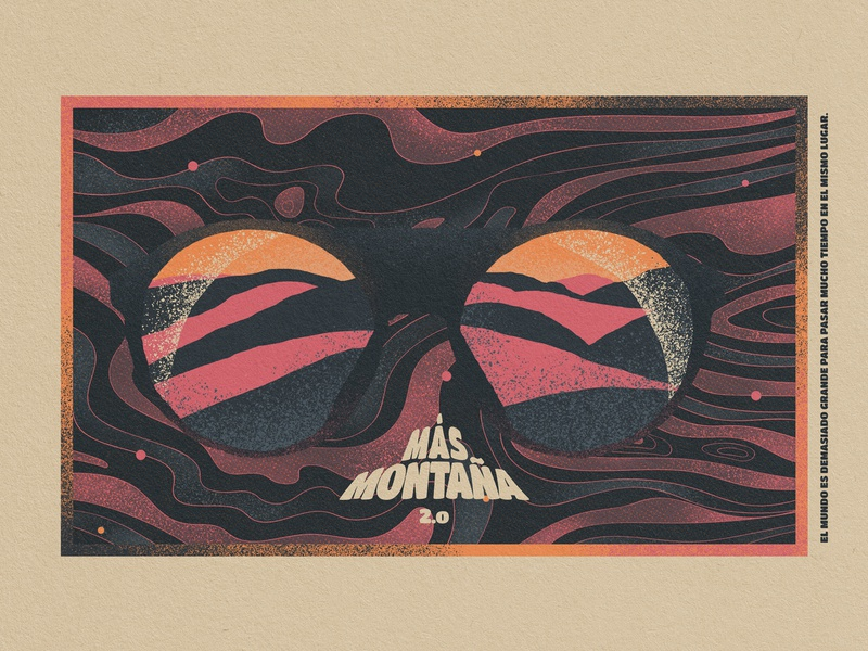 MÁS MONTAÑA montains glasses wacom design vintage design illustration