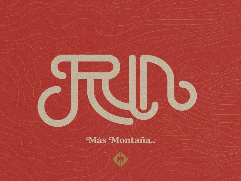 RUN más montaña. outdoors run icon typography mark logo branding brand vintage design design