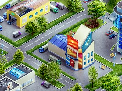 Map map cartoon illustration city town landscape building