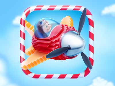 Plane Jane icon game ios application cartoon character plane airplane sky pixel fly propeller