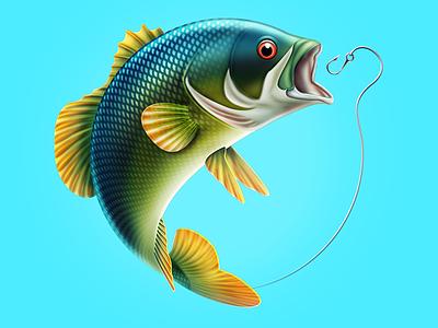 Fishing fishing fish illustration cartoon bass sea
