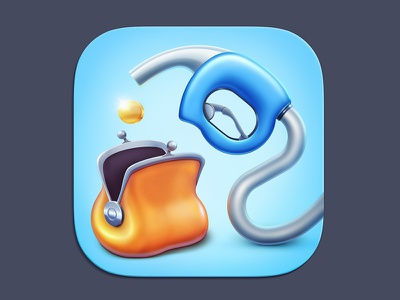 Fuel economy fuel purse coin economy ios icon app application iphone gas station