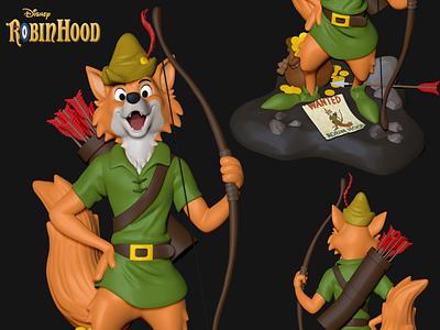 Robin Hood Disney Toy for 3D Print render character charactedesign 3d art design cinema 4d 3dprinting disney collectibles zbrush 3d print toy 3d artist 3d