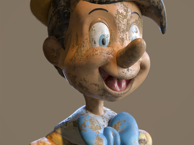 Old Pinocho 3D Model motion design illustration characterdesign zbrush c4d cinema 4d 3d artist 3d art render 3d