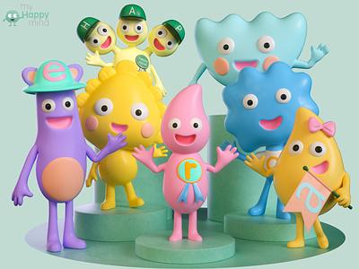 Work for MyHappyMind UK c4d motion design animation characterdesign zbrush cinema 4d 3d artist 3d art render 3d