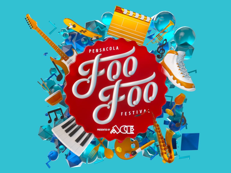 Foo Foo Fest 2019 Logo and Items motion design motiongraphics product render cinema4d zbrush c4d animation photoshop cinema 4d 3d artist 3d art render illustration design 3d