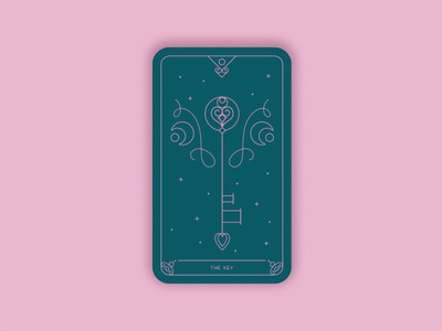 Predictions 2020: The Key vintage branding geometric romantic two colours pink stars flourishes creative magic design card illustration card design card minimal vector message key