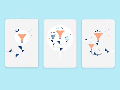 Abstract flowers nature flower card branding minimal vector geometric design illustration