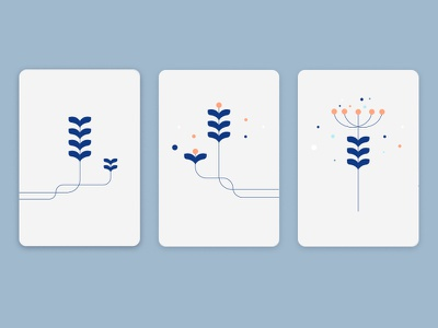 Abstract flowers branding card minimal geometric vector design illustration nature flower