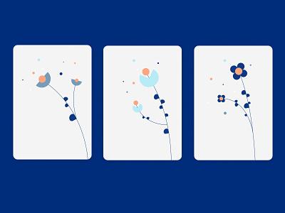 Abstract flowers branding card minimal geometric vector design illustration nature flowers
