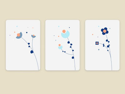 Abstract flowers branding minimal card geometric design vector illustration flower