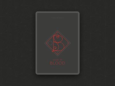 House of Blood drop caps pattern geometric latin dark illustration ui game card