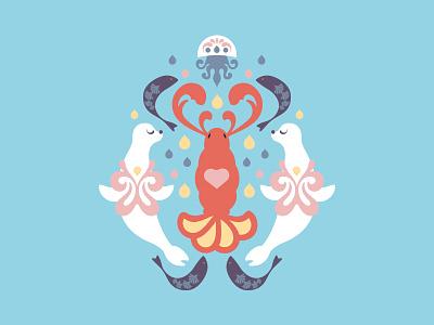 The Lobster Quadrille digital illustration jellyfish marine seal ocean dance lobster illustration children book alice in wonderland