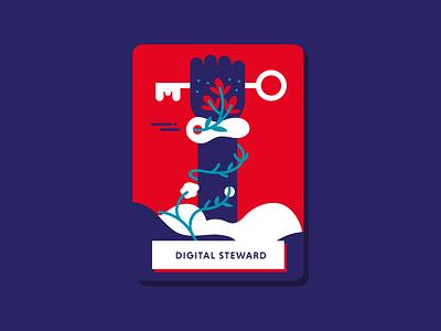 Digital Stewart graphic power key hand design book illustration digital stewart card illustration digital illustration digital policy
