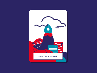 Digital Author book illustration vector cute flat clouds red illustration graphic design documents colourful smooth fountain pen digital policy web digital digital author