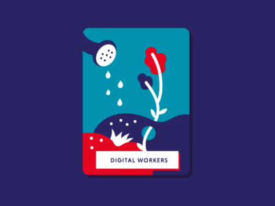 Digital Workers graphic vector flat book illustrations book illustration gardening garden workers opportunities digital growth digital policy digital workers