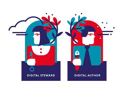 Digital Policy Players design pen key flower digital policy digital workers flat illustrations vector artwork illustration illustration art flat  design digital steward digital author players people