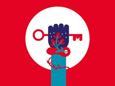 The Power of Digital Policy vector illustration vector flourish flower holding key hand key bookdesign design digital policy power red illustration
