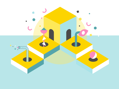 The Maze illustration ui vector colourful branding frontend design stairs box shapes geometric graphic design design creative illustrations ui tools tools labyrinth levels maze