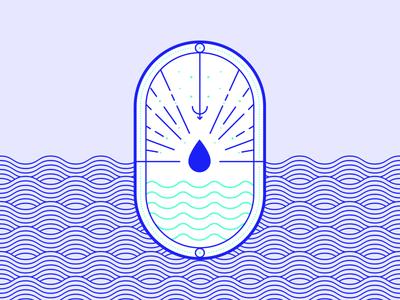 Resources: Water sunburst waves drop water lineart elegant geometric joomla branding vector design illustration badge