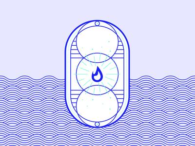 Resource: Fire. waves two colours blue colour sunburst elegant geometric brand illustration branding graphicdesign badgedesign vector badge natural element natural resource fire