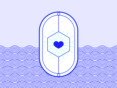 Resource: Love. brand illustration branding minimal design simple lineart geometric design heartbeat vector bagdedesign badge waves love heart illustration