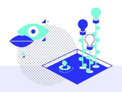 Pool of ideas brand illustration branding mouth plants abstract funny pools vision eye water imaginative futuristic geometric simple two colours vector illustrations ideas pool