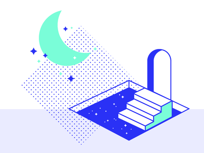 Pool of Dreams minimalist perspective conference design imaginative visionary funny two colours minimal art vector brand illustration illustrations dreamcatcher sky moon stars door dreams pool dreaming