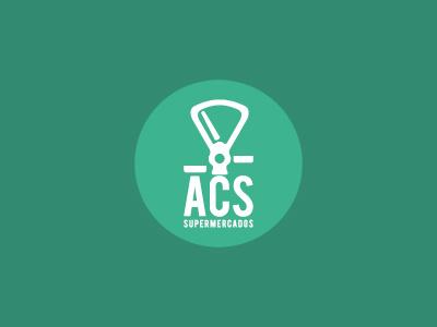 ACS Supermercados brand branding icon identity logo mark shapely regular type grocery supermarket rebrand