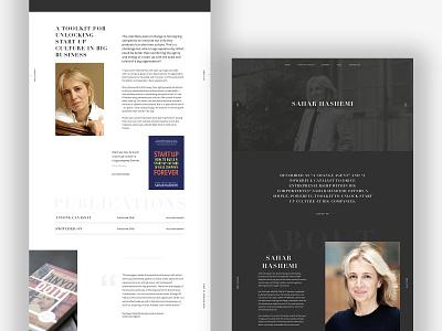 Sahar Hashemi Concept one page website one page design entrepreneur website entrepreneurs entrepreneur dark black minimal type typography web branding website brand graphic design design