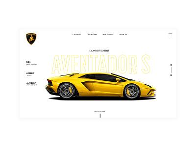White Lamborghini Concept ui uidesign minimal concept design white flat lamborghini lambo car website car car concept concept web website graphic design design