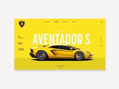 Lamborghini Web Concept car design car web design yellow website yellow design flat lambo website design lambo website lamborghini typography mobile web website brand graphic design design