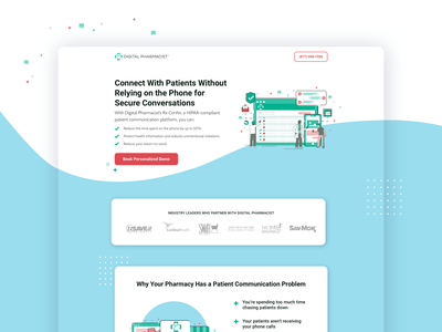 Digital Pharmacy Solution | Landing Page hipaa healthcare medical pharmacist pharmacy software saas ux ui b2b web design web ppc landing page cro