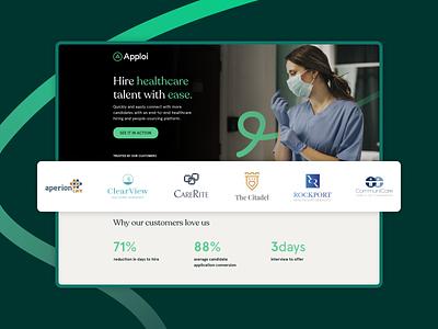 Healthcare Hiring & Onboarding Platform   Landing Page recruiting healthcare ats saas ux ui landing page b2b web design web ppc cro