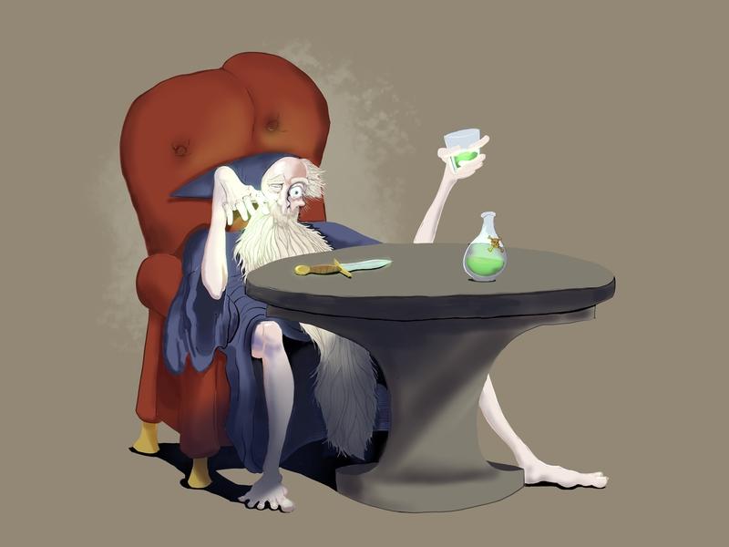 Drunk Wizard illustration wizard fantasy art
