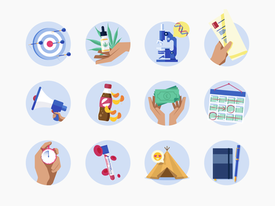 Medify Icons icons vector illustration notebook teepee blood test time pressure timeline purchasing sugary drinks  snacks encouragement research medical cannabis bounce back