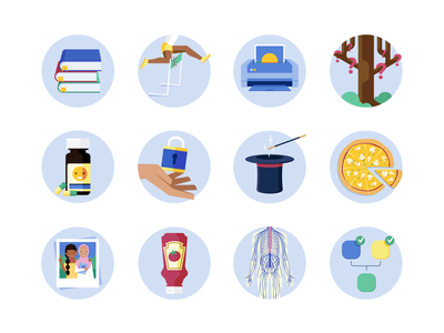 Medify Icons Vol. 3 printer living question bank magician wand magician hat photography tree inference peripheral nervous system burger sauce friends pizza trick confidentiality antidepressants athlete hurdle icons vector illustration