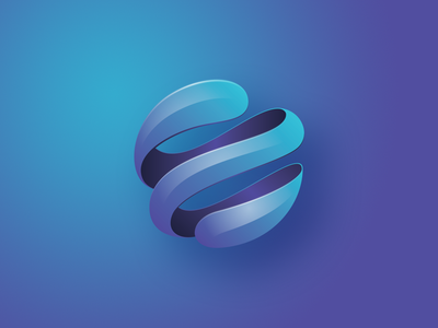 Earth Picture Mark concave technology planet rebranding water gradient splash icon earth logo logomark