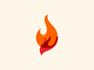 Fire exploration flame hand of fire finger orange red overlap branding smooth logo logomark hand fire