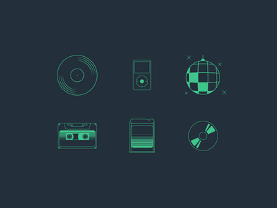 The Evolution of Music disco ball retro sound music 8-track tape ipod cassette cd vinyl iconography icons