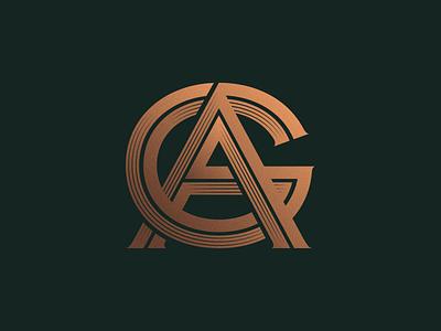 AG Monogram ag shading badge brand typography type gold symbol logotype logo letter monogram