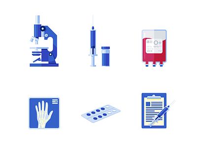 The Medify Illustrations science hospital medicine blister x-ray blood needle flask hand bones microscope syringe