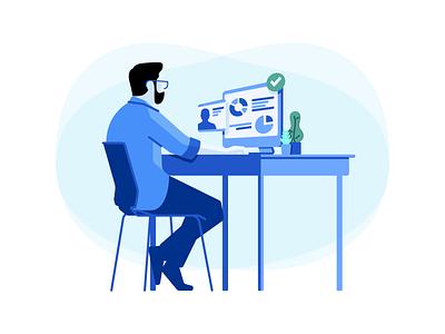 Hiring Manager for Codility skills desktop desk vector art recruit technology engineer tech recruiter hiring manager software coding programmers developers vector illustration codility