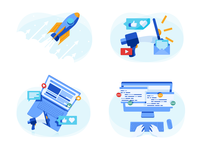 Codility Illustrations marketing press raise awareness emoticons loudspeaker email programming laptop desktop coding like rocket icons vector illustration codility