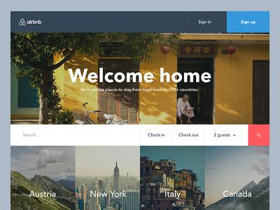 Airbnb rework airbnb minimalism simple homepage rework landingpage travel interface clean web website ui