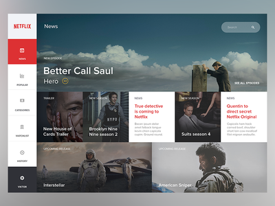 Netflix rework netflix dashboard movies ui interface flat web application simple website user interface